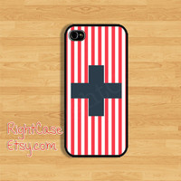 Blue Cross and Red Stripe IPHONE 5S CASE Geometric Vintage iPhone Case Phone 4S iPhone 5C Case Samsung Galaxy S4 S3 iPhone 5 iPhone 4 Cover