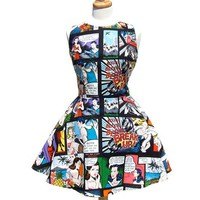 """Comic Strip Skater Dress"" Dress by Hemet (Black)"