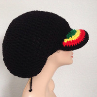 Medium Brimmed Crochet Rasta Tam. Brimmed Dreadlocks Crochet Tam. Rastafari Dreadlocks Hat