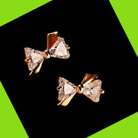 Golden Trim Diamond Bow Rhinestone Earrings