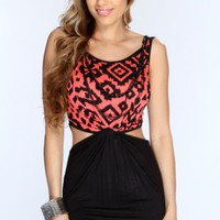 Coral Black Knotted Center Cut Out Dress @ Amiclubwear sexy dresses,sexy dress,prom dress,summer dress,spring dress,prom gowns,teens dresses,sexy party wear,women's cocktail dresses,ball dresses,sun dresses,trendy dresses,sweater dresses,teen clothing,eve