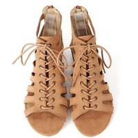 Solo-01 Lace Up Cut Out Gladiator Sandals | MakeMeChic.com