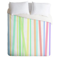 Lisa Argyropoulos Pastel Rainbow Stripes Duvet Cover