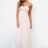 Blush Pink Strapless Maxi Dress
