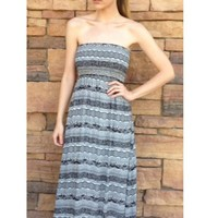 Black & White Strapless Aztec Printed Maxi Dress