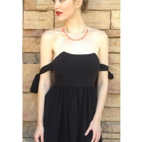 Black Mini Dress w/ Off the Shoulder Bow Straps