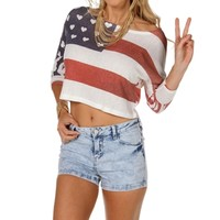 Red/White/Blue Dolman Crop Top