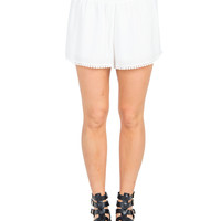 Gauze Pom Trim Lounge Shorts - White