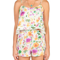 Water Color Floral Tiered Romper