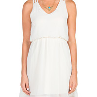 Triple Strap Chiffon Dress - Cream - Large - Cream /