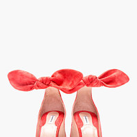 CORAL SUEDE ANKLE STRAP BOW PUMPS