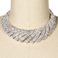 Silver Rhinestone Collar Necklace Set