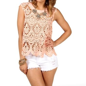 Peach Cap Sleeve Crochet Top