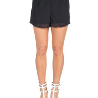 Pom Trim Lounge Shorts - Black