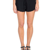 Solid Ruffle Trim Lounge Shorts - Black