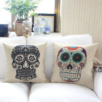 Home Style Cotton Linen Decorative Couple Throw Pillow Cover Cushion Case Couple Pillow Case, Set of 2