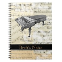 Vintage Piano Music Spiral Notebook