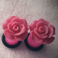 6g 4mm Plugs Hot Pink Flower Acrylic gauge piercing by Glamsquared