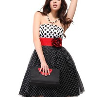 Ever Pretty Women's Charm Strapless Polka Mini Dress