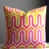Outdoor pillow cover hot pink, tangerine, yellow and white, fabric both sides all sizes available