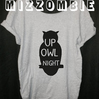 up OWL NIGHT  loose fitting off the shoulder ladies, women, geek, nerd,  street style trendy t shirt