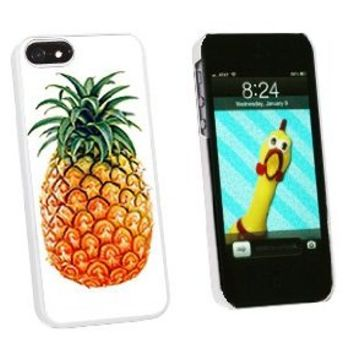 Pineapple - Snap On Hard Protective Case for Apple iPhone 5 5S - White