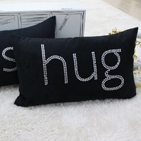 Polyester Decorative Pillow Case Pillow Cover Case Rectangle Shape Black Words Printed Surface