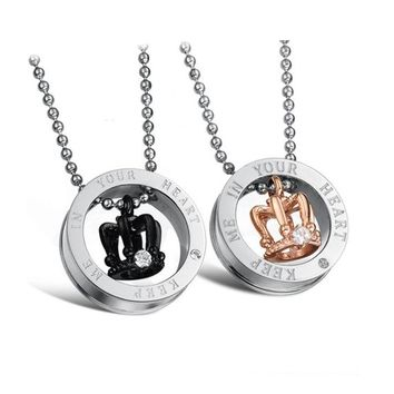 MagicPieces Women's Titanium Stainless Steel Crown Shape in The Circle Fashion Couple Necklace