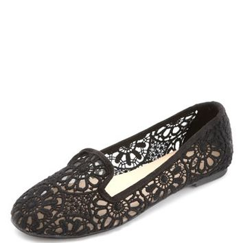 CROCHET LACE SMOKING SLIPPER LOAFERS
