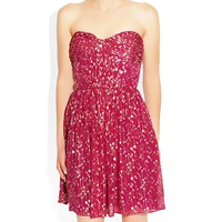 Erin Fetherston Lurex Shirred Strapless Dress Pink