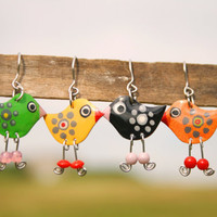 Cute colorful earrings bright bird earrings by HorakovaDesigns
