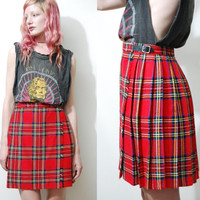 70s Vintage TARTAN Skirt Kilt Belt Pleated Mini Plaid Wool Punk Grunge Red 1970s vtg xxs xs