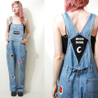 90s Vintage OVERALLS Denim Embroidered Patches Dungarees One Piece Long Jeans Jumpsuit Hippie Romper 1990s vtg Grunge S M