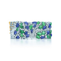 Tiffany & Co. - Bracelet in platinum and 18k gold with white diamonds, tsavorites, tanzanites an