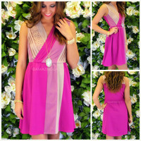 Pure Romance Magenta Colorblock Dress