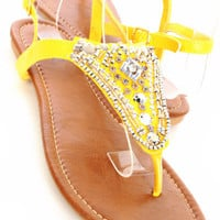 Yellow Bead Embellishment Thong Ankle Strap Flat Sandals