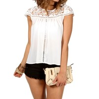 White Cap Sleeve Crochet Top