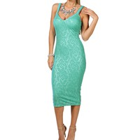 Callie- Mint Textured Midi Prom Dress