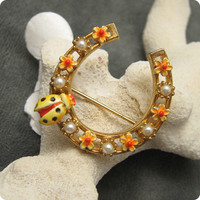 Vintage Brooch Lady Bug Horseshoe Signed Art