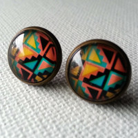 Tribal Earrings - Tribal Studs - Geometric Studs - Tribal Jewelry - Cheveron Earrings - Cheveron Studs