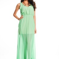 GREEN CHIFFON V-NECK SLEEVELESS LONG MAXI DRESS