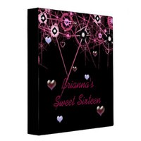 Bright Pink Stars and Hearts Binder