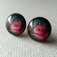 Galaxy Earrings - Je t'aime Earrings - Black Studs - Galaxy Studs - Love Earrings