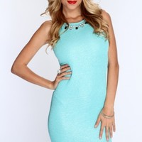 Mint Shimmery Crinkle Texture Sexy Party Dress