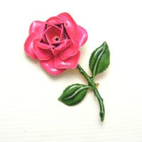 Vintage large Pink Rose Brooch Original by Robert Flower Jewelry P4211