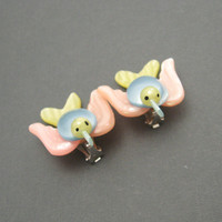 Bird Earrings Vintage Plastic Birds Pastels Huge E5664