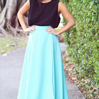 Tiffany Blue Dreams Maxi Skirt - Furor Moda - Tops - Dresses - Jackets - Vintage