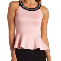 EMBELLISHED SLEEVELESS PEPLUM TOP