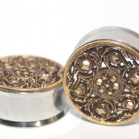 """Gold Tribal Style Plugs 7/8"""" 1""""  22mm 25mm"""