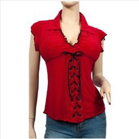 Plus Size Sexy RED Black Lace Corset Top